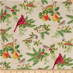 Christmas Carols Metallics Birds on Branches Ivory