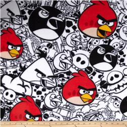 Angry Birds Fleece Comic White Fabric