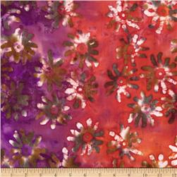 Indian Batik Large Tossed Daisy Orange/Green/Purple Fabric
