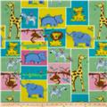 Fleece Print Pastel Animals Yellow/Green/Blue/Pink