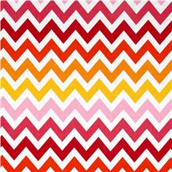 Remix Chevron Garden Pink/Yellow Fabric