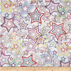 Kanvas Bright Idea Rainbow Star White Fabric