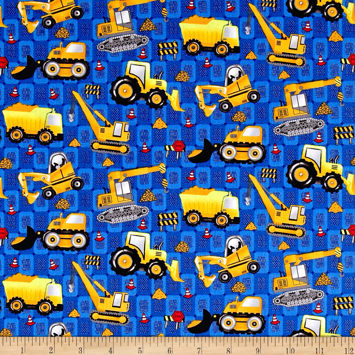 Building 101 Construction Equipment Blue Fabric