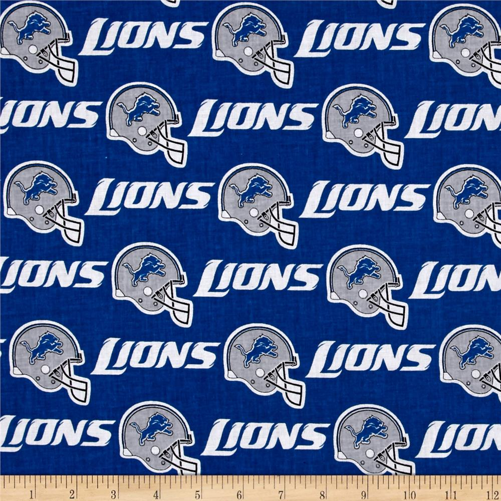 NFL Cotton Broadcloth Detroit Lions Dark Blue/White/Grey