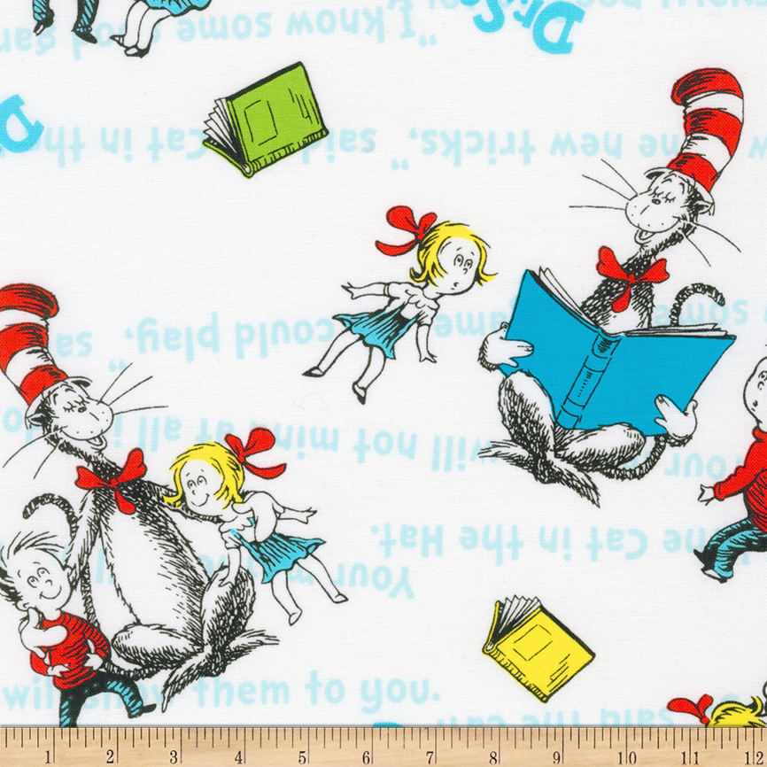 Kaufman The Cat In The Hat Collage White Fabric