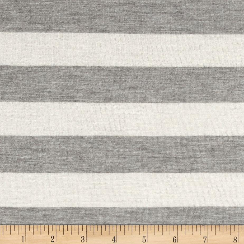 Modal Rayon Jersey Knit Stripe Natural Grey Fabric By The Yard