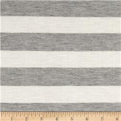 Modal Silk Blend Stripe Jersey Knit Natural Grey