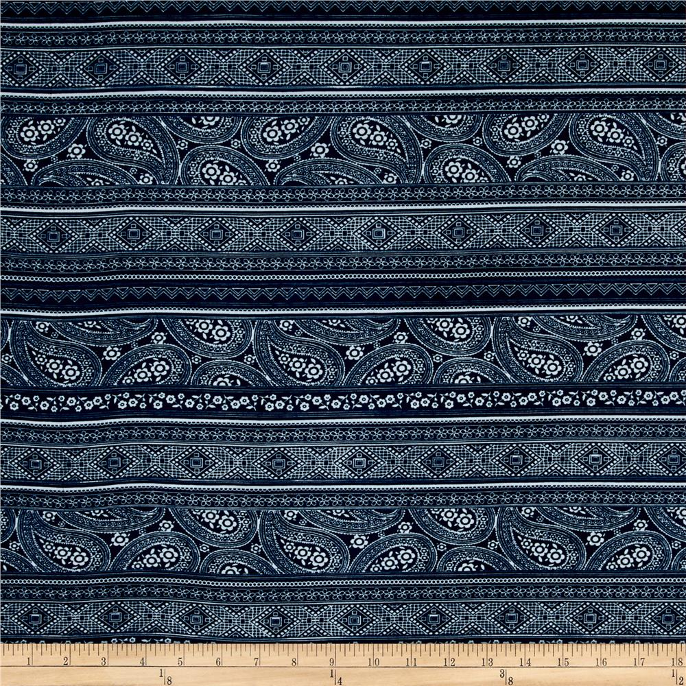Stretch ITY Jersey Knit Paisley Stripe Teal Blue Fabric By The Yard