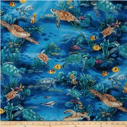 Hoffman Tropicals Turtle Reef Royal Blue Fabric