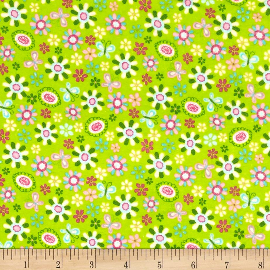Comfy Flannel Tossed Flowers Green Fabric