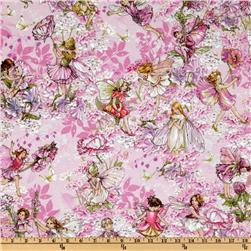 Michael Miller Petal Flower Fairies Allover Fairies Pink