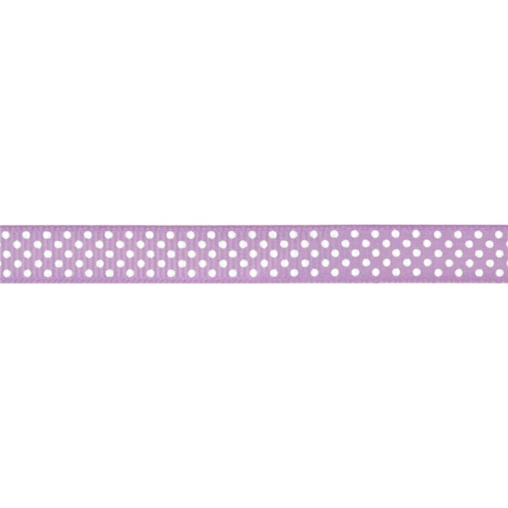 "Riley Blake 3/8"" Grosgrain Ribbon White Dots Lavender"