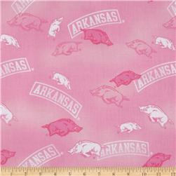 Collegiate Cotton Broadcloth University of Arkansas Allover Pink