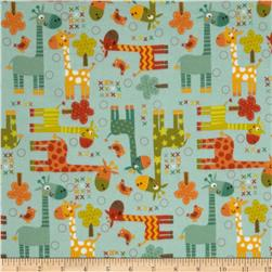 Riley Blake Giraffe Crossing Flannel Giraffe Main Teal