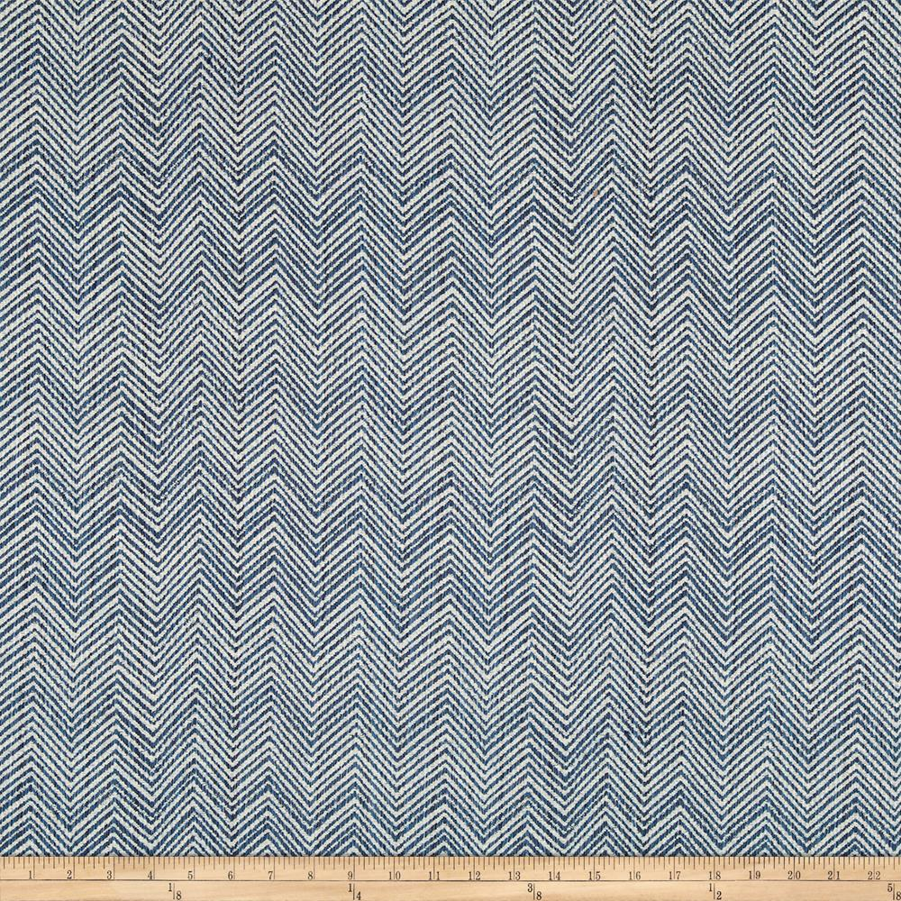 Robert Allen Sunbrella Peaking Out Chevron Indigo