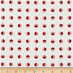Moda Red Dot Green Dash Brushed Cottons Half Snowballs Winterwhite Red