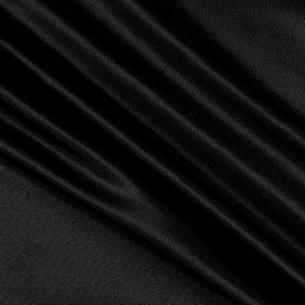 European Linen/Silk Satin Black Fabric