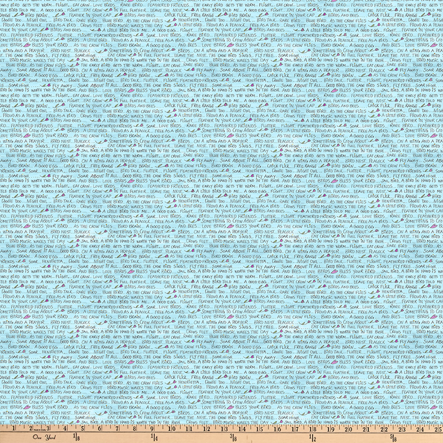 INOpets.com Anything for Pets Parents & Their Pets Laura Heine A Bird In Hand Bird Words Turquois Fabric