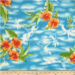 Printed Fleece Hibiscus Orange