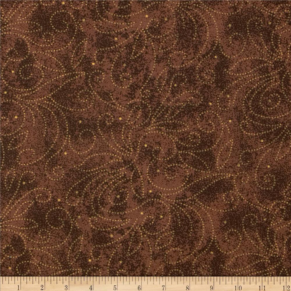 "110"" Wide Quilt Backing Scroll Brown"