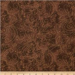 110'' Wide Quilt Backing Scroll Brown