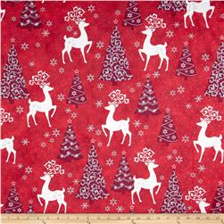 Celebrate the Season Metallic Tossed Reindeer & Tree Red