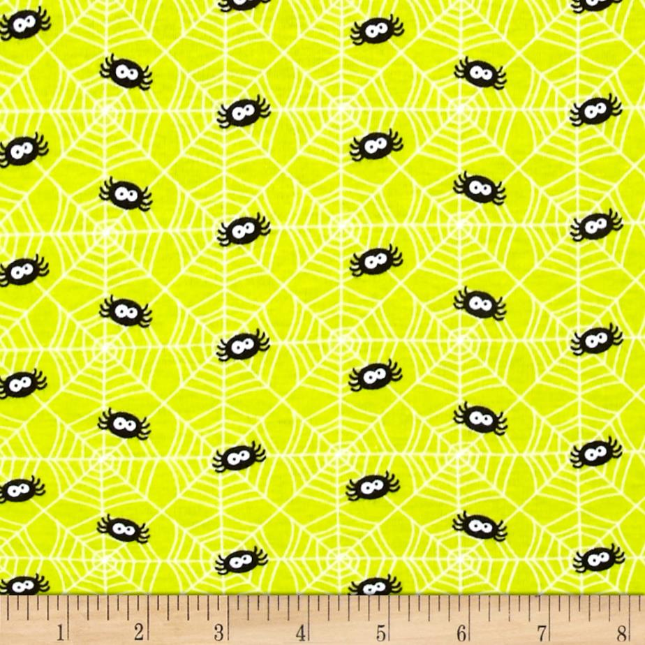Riley Blake Cotton Jersey Knit Ghouls Spider Lime Fabric By The Yard