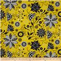 Ink Blossom Contempo Floral Yellow