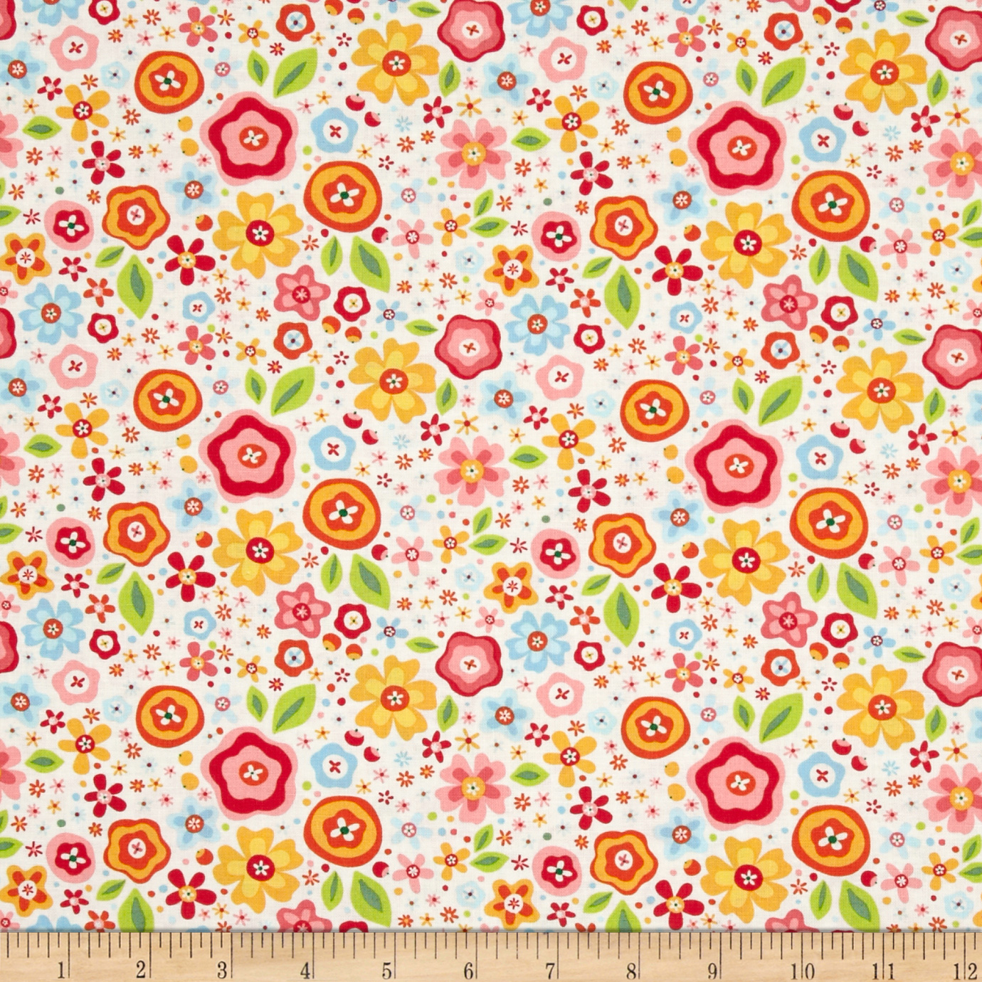 Riley Blake My Sunshine Large Floral Cream Fabric