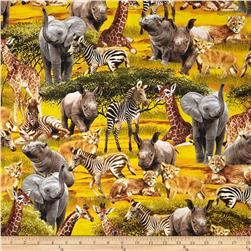Timeless Treasures Safari Animals Gold