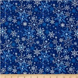 Season's Greetings Snowflakes Navy