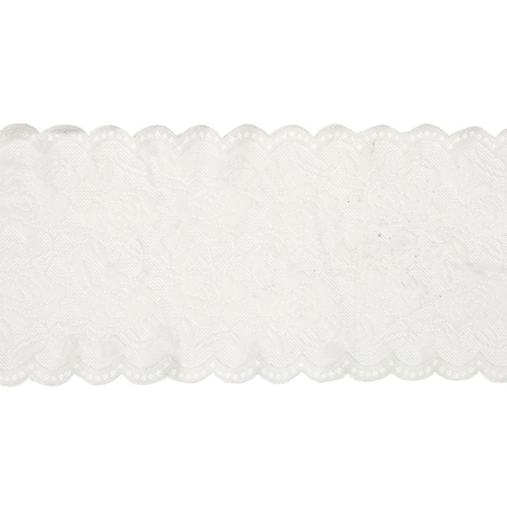 Image of 6.5'' Ally Stretchable Polyester Chantilly Lace Trim Ivory