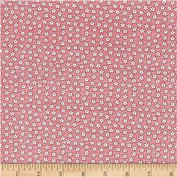 Nana Mae 1930's Tiny Flowers On Small Grid Pink