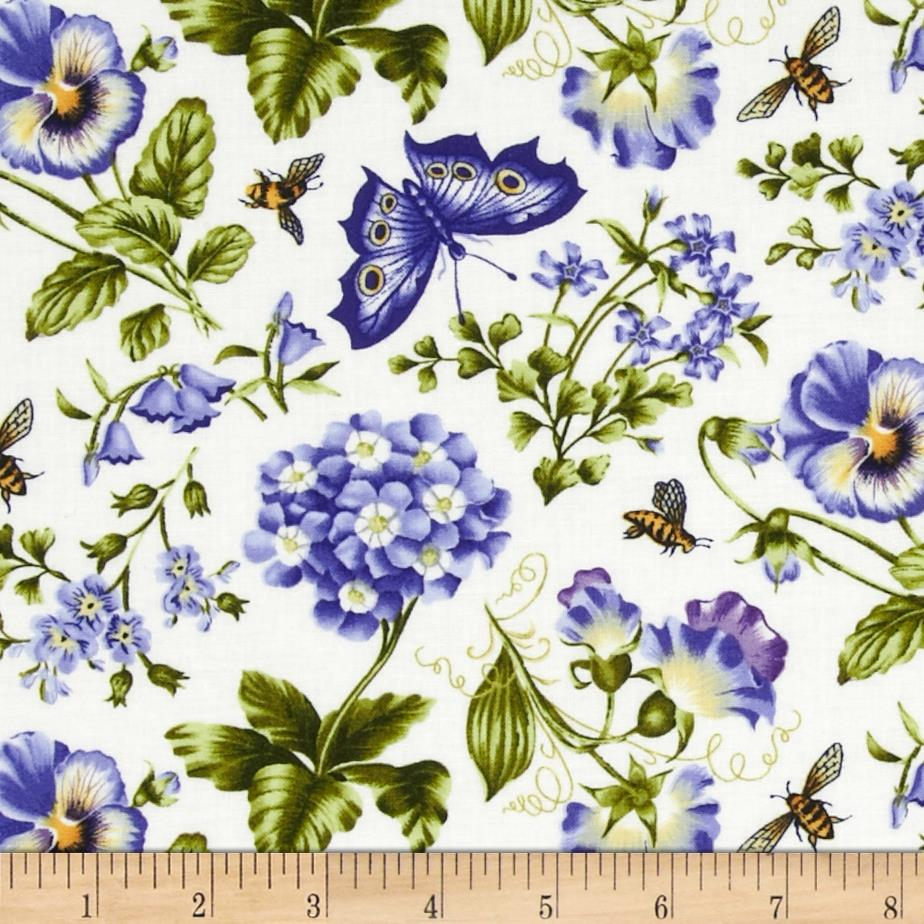 Botanical Blues Flowers & Butterflies Cream