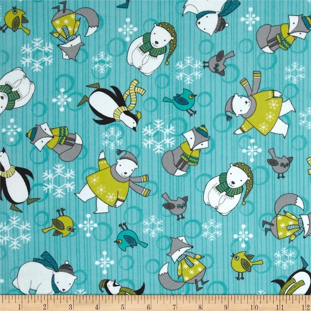 Debbie Mumm Arctic Antics Flannel Animal Toss Blue Fabric By The Yard