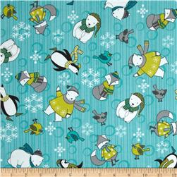 Debbie Mumm Arctic Antics Flannel Animal Toss Blue