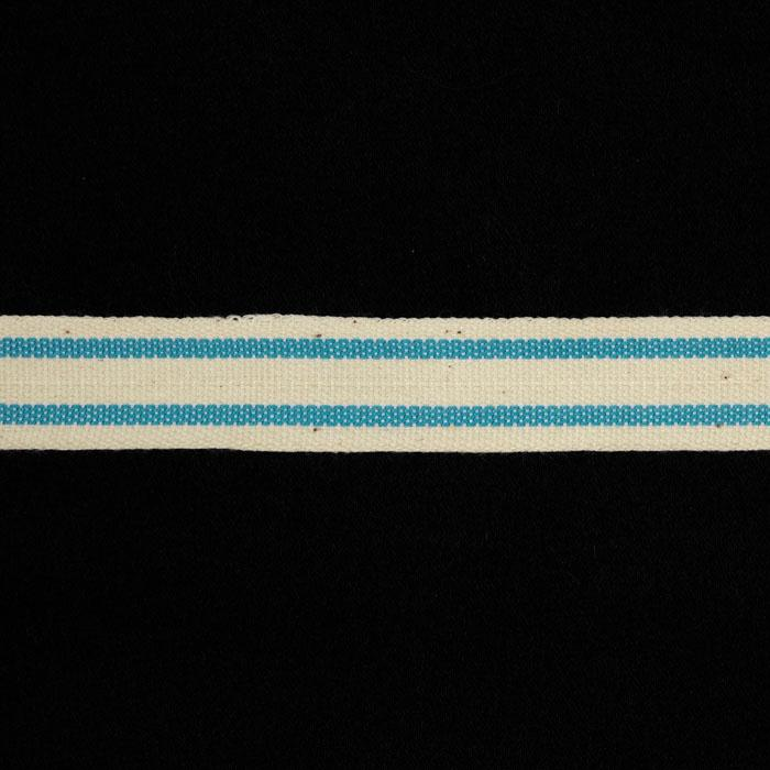 "5/8"" Woven Ribbon Stripes Sky Blue"