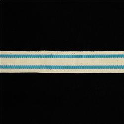 5/8'' Woven Ribbon Stripes Sky Blue