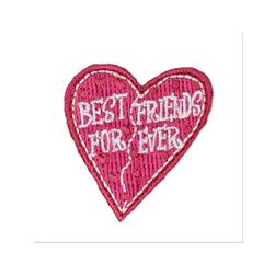 Boutique Applique Best Friends Heart Pink/White