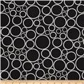 "108""  Wide Spot On Wide Quilt Backing Circles Black"