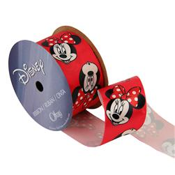 "1 1/2"" Minnie Mouse Ribbon Redheads Red"