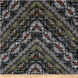 Designer Rayon Crepe Abstract Aztec Grey/Multi