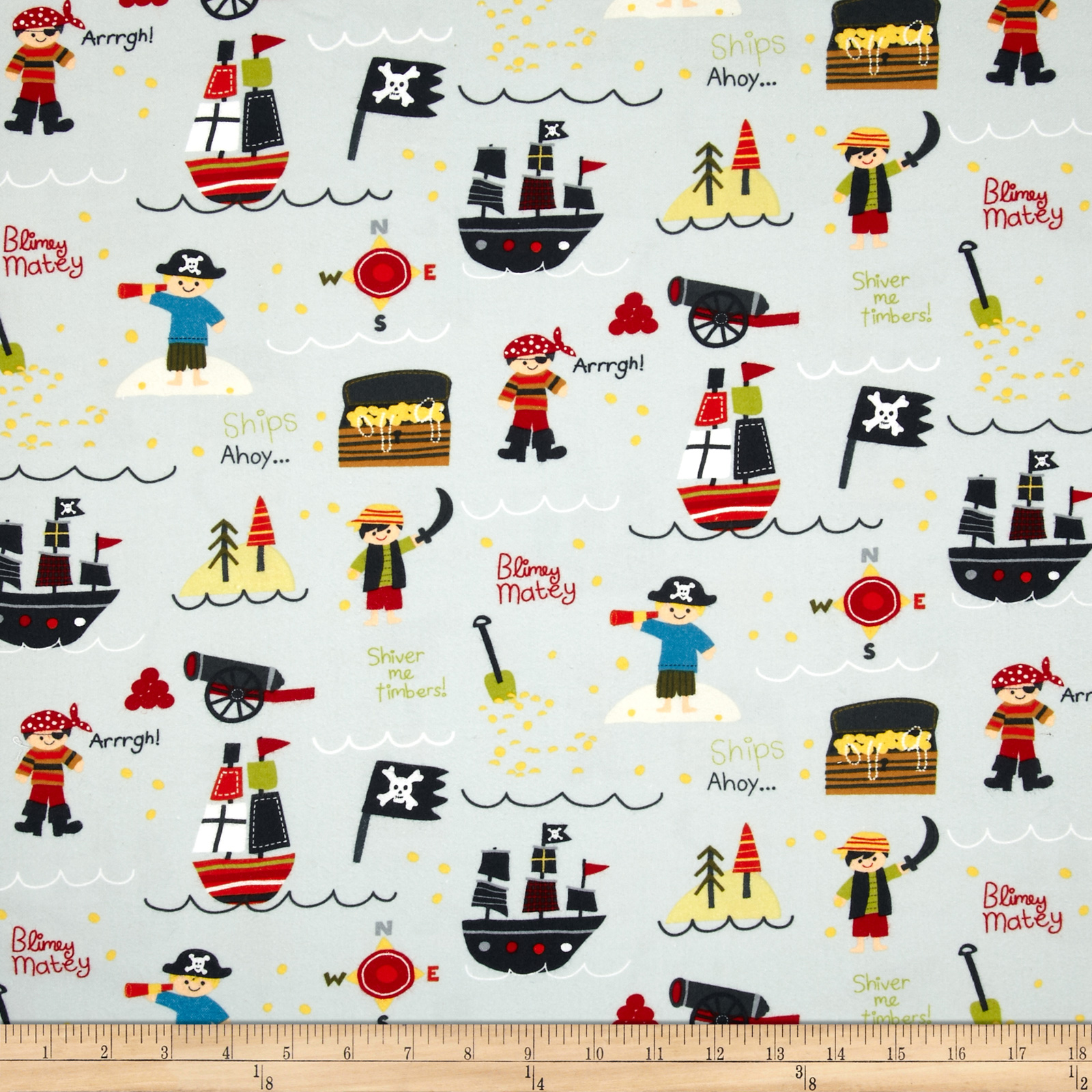 Riley Blake Treasure Map Flannel Main Grey Fabric