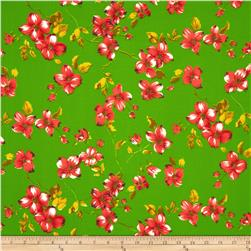 Garden Floral Broadcloth Green