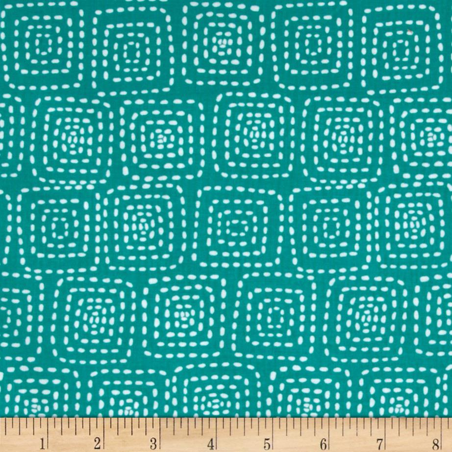 Michael Miller Stitch Floral Square Teal