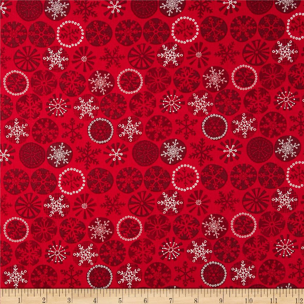 Christmas Cool Yule Snowflakes Red