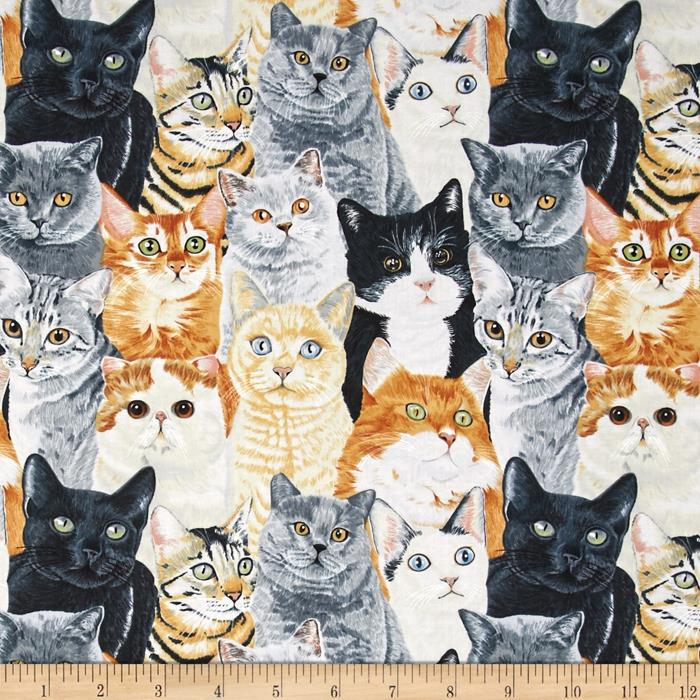 Timeless Treasures Packed Cats Multi