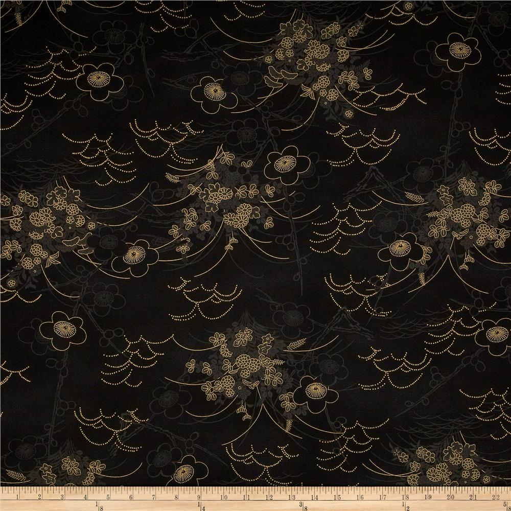 Asuka Metallic Asian Toile Black/Gold