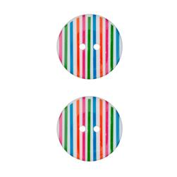 "Dill Novelty Button 3/4""  Stripes on White"