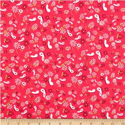 Fairyville Butterflies & Flowers Bright Pink Fabric